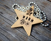 wish upon a star necklace / / hand stamped brass star and antiqued copper baby star charm