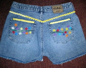 Sale / Vintage Silver Jean Cut Offs / Hand Embroidery / Silver Jeans / Jean Shorts / Embellished / Embroidered Flowers / Hippie / Boho