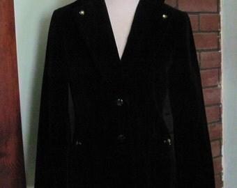 Vintage Velvet Blazer / Black Velvet Jacket / Beaded Jacket / Campus Causuals / Hippie Coat / Boho / Black Velvet Blazer / Evening Jacket