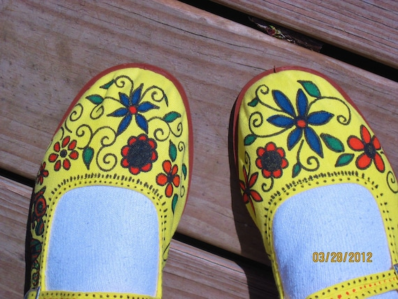 Sweet MaryJanes/Handpainted Canvas Shoes/House Slippers/HIppie/Bohemeian/Size 7 1/2