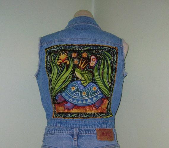 Vintage Zana Di Denim Hippie Vest/Upcycled Vest/Jean Vest/Size Medium
