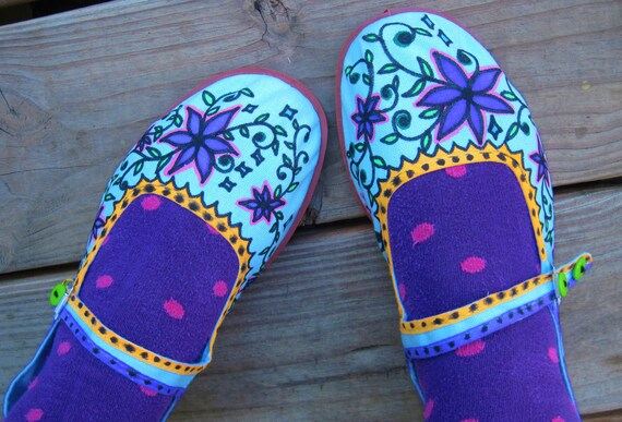 Sweet MaryJanes/Hanpainted Canvas Shoes/House Slippers/Hippie/Boho/Size 7 to 7 1/2