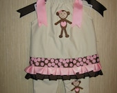Personalized Monkey Brown pink ruffled Beige Outfit Brown pink polka dots Pillowcase style Valentine