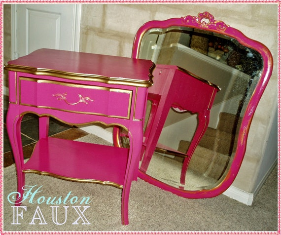 Secret inspired french provincial pink nightstand side table