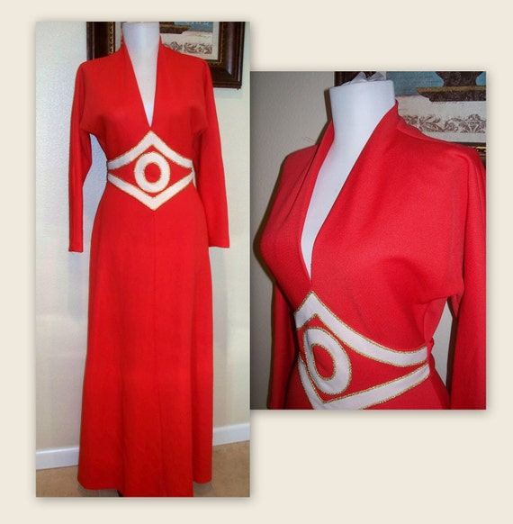 Vintage 1960s Abell'a Paris gown....disco shimmering gold on red...perfect dress