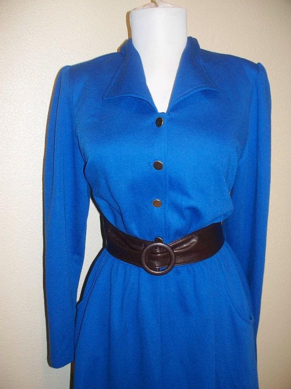 vintage 70s blue secretary dress....elastic waist, easy care, great price