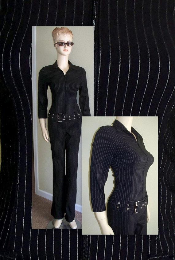 Vintage pinstriped jumpsuit/80s pinstriped pant suit with hip hugger belt