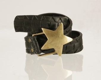 Bike tyre belt with Star Buckle. Ethical, Upcycled, rubber bike tyres - Waterproof Eco Fashion.