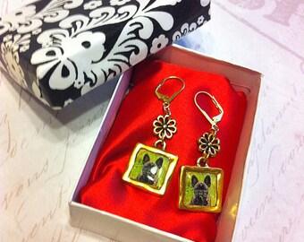French Bulldog Earrings - French Bulldog Gold Drop Earrings, Frenchie Dangle Earrings, Brindle French Bulldog Earrings