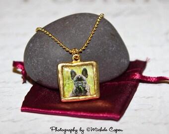 Lettuce Anyone - French Bulldog Gold Finish Pendant Nacklace