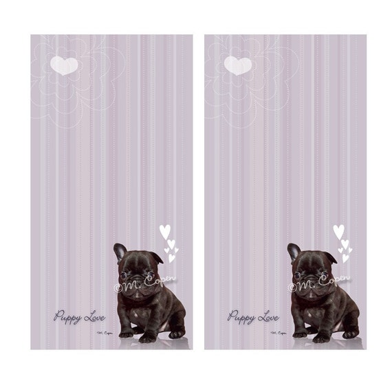 LAST SET: French Bulldog Lavender Note Pads, Optional Magnetic Backing, Set of 2 Pads, Forty Pages in Each Pad