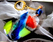 Fused Glass Oversize Keychain Charm Multicolored OOAK