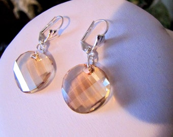 19mm Stunning Swarovski crystal silver champagne colour dangle earrings
