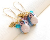 Blue and Pink Owl Earrings. Pastel Colour Ceramic Owl Drop Earrings.