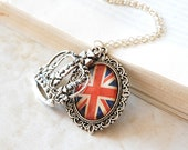 Union Jack Necklace. British Flag Necklace with a Silver Crown Charm.