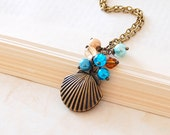 Shell Locket Necklace. Antique Brass Sea Shell Locket, Nautical Jewellery.