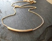 Bar Necklace, Gold Necklace, Gold Bar
