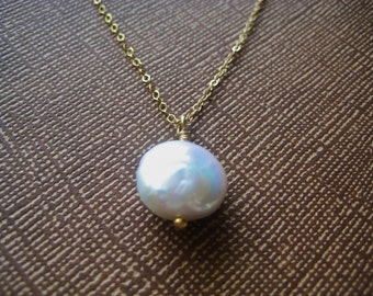 Necklace - Coin Pearl Necklace - Gold Necklace