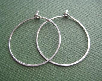 One inch Hoop Earrings, Gold Filled or Sterling Silver