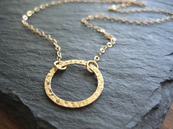 Gold Necklace, Gold Circle Necklace