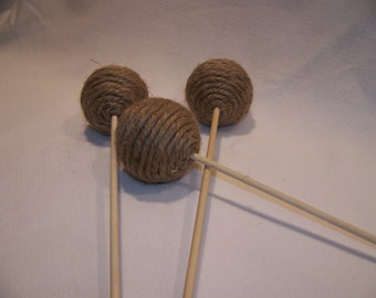 Large Decorative Wrapped Natural Twine Balls on a Stick