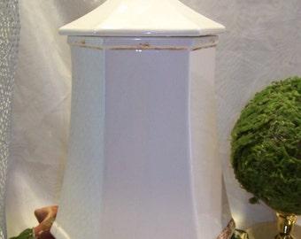 Vintage Cottage Chic Handmade Tall Ceramic Cookie Jar