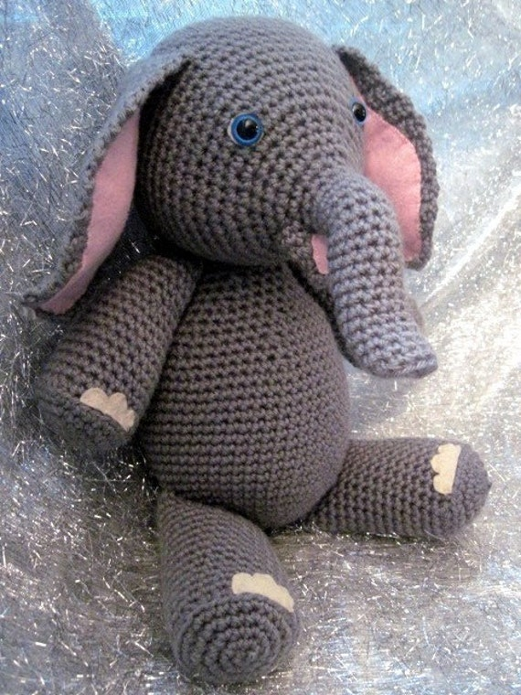 Crochet Patterns Elephant : Elly the Elephant Crochet Amigurumi Pattern by amyandell on Etsy