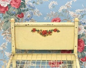 Vintage Metal Doll Bed Yellow Red Rose Decal