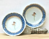 Antique Victoria Carlsbad Austria Cherub Collectors Cabinet Plates Cobalt Blue