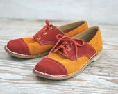 Vintage Suede Saddle Shoes Bowling Tangerine And Brick Red Funky Old School