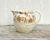 Reserved For Chelsa Cirac 1940s E & R Erphila Chelsea Czechoslovakian Ceramic Pitcher Calico Floral Chintz