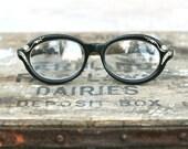 Circa 1950s Vintage Safilo Venezia Eyeglass Frames Black Rhinestones