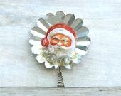 Circa 1940s Celluloid And Foil Tin Santa Tree Topper