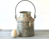 Vintage Rustic Galvanized Handled Metal Milk Pail Number Two