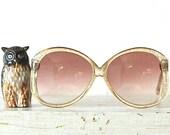 Circa 1970s  Oversized Glitter Sun glasses Italy