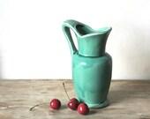 Vintage Ceramic Pitcher Vase Turquoise Glaze Craftsman
