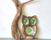 Reserved For Lisa  Vintage Ceramic Big Eyed Owl Spoon Rest Brown Green Treasure Craft