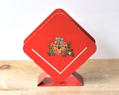 Vintage Red Metal Napkin Holder Fruit Decal