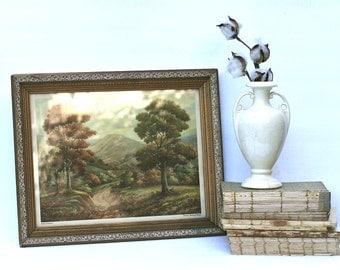 Vintage Framed  Lithograph Print  Thomas Manning Moore Tree Landscape 1945 Silent Sentinels
