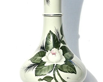 Vintage Porcelain Lamp Hand painted Roses Shabby Retro