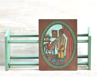 Vintage Paint By Number On Wood Panel Colonial Boy Folk Rustic Primitive