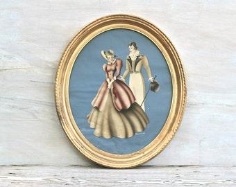 Vintage Turner Lithograph Blue Couple Oval Gold Frame