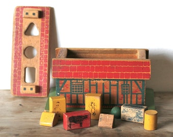 Wood Toy, Holegate Farm Blocks Classic Wooden Toy Vintage Holgate Farm House Shape Sorter