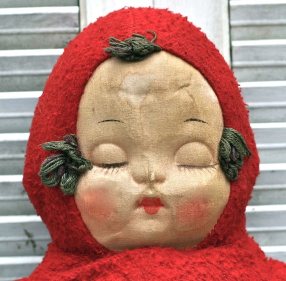 Vintage Cloth Mask Face Stuffed Baby Doll Red