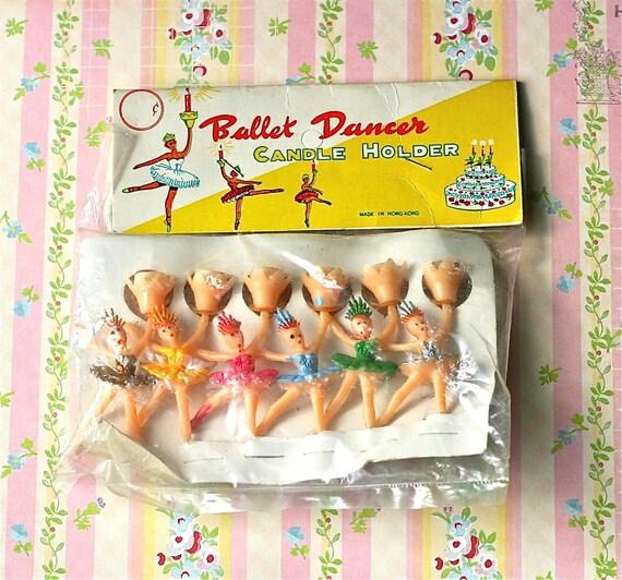 Vintage Ballet Dancer Bithday Cake Candle Holders