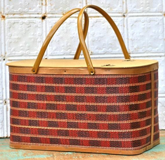 Vintage Burlington Banquet Picnic Basket With Box And Accessories