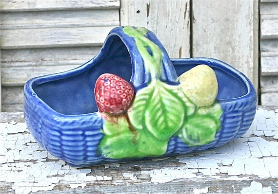 Vintage Blue Ceramic Fruit Basket Dish Japan