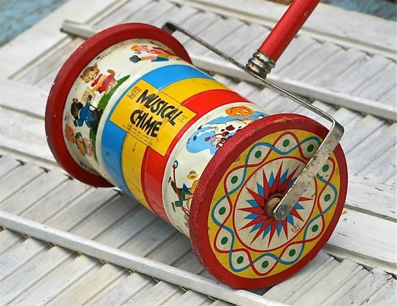 Vintage Fisher Price Musical Chime Push Toy