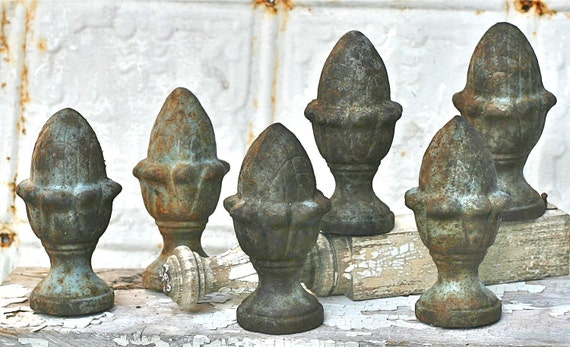 Vintage Cast Iron Garden Finial Rusty Blue Shabby Pineapple Top