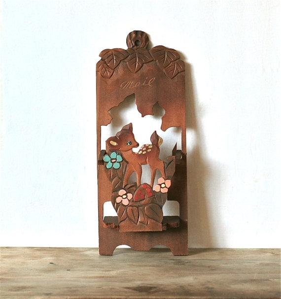 Vintage Wooden Spotted Deer Mail Holder Japan